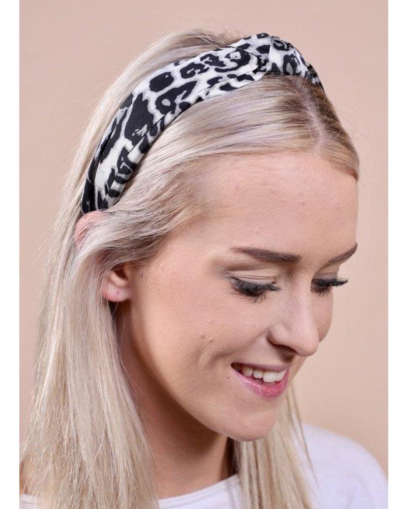 Caroline Hill White Leopard KnottedHeadband