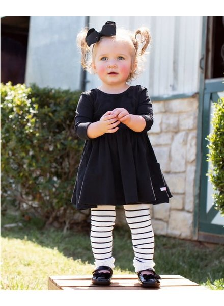 Ruffle Butts Monogrammed Black Twirl Dress