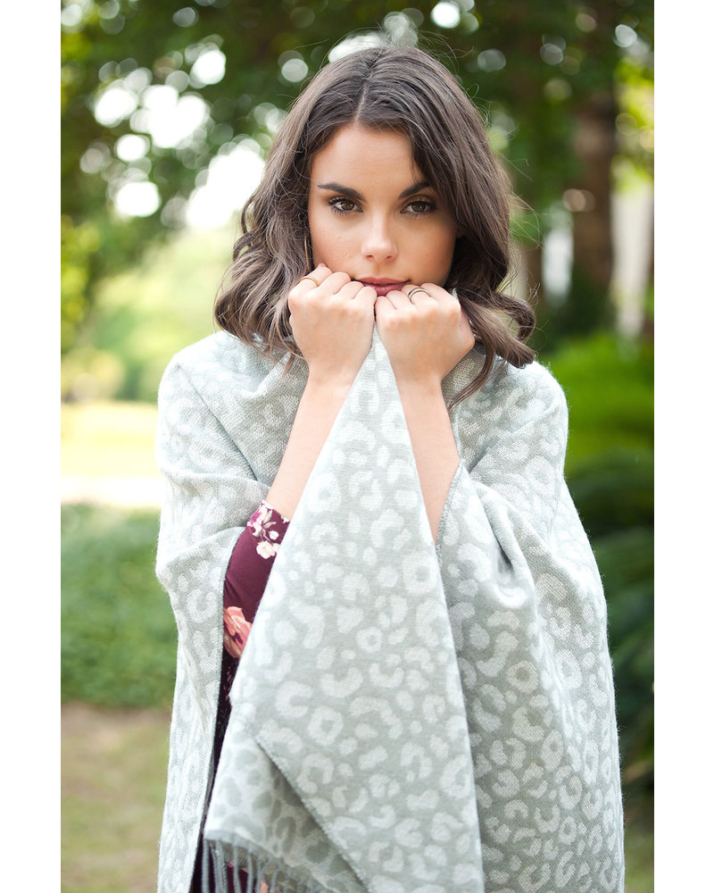 Wholesale Boutique Smokey Leopard Monogrammed Shawl
