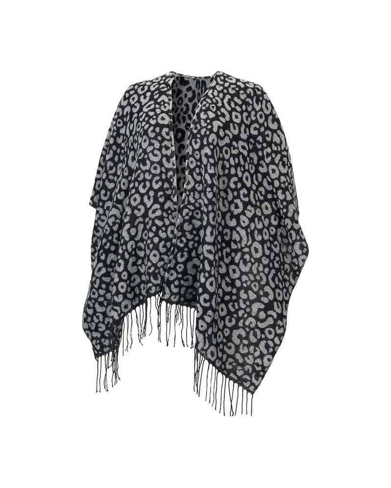 Wholesale Boutique Black Leopard Monogrammed Shawl