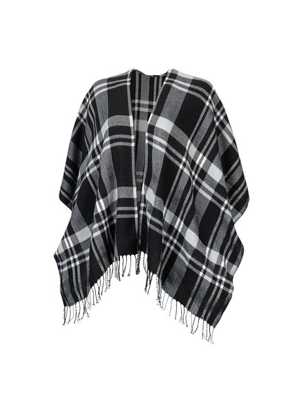 Wholesale Boutique Monogrammed Black Plaid Shawl