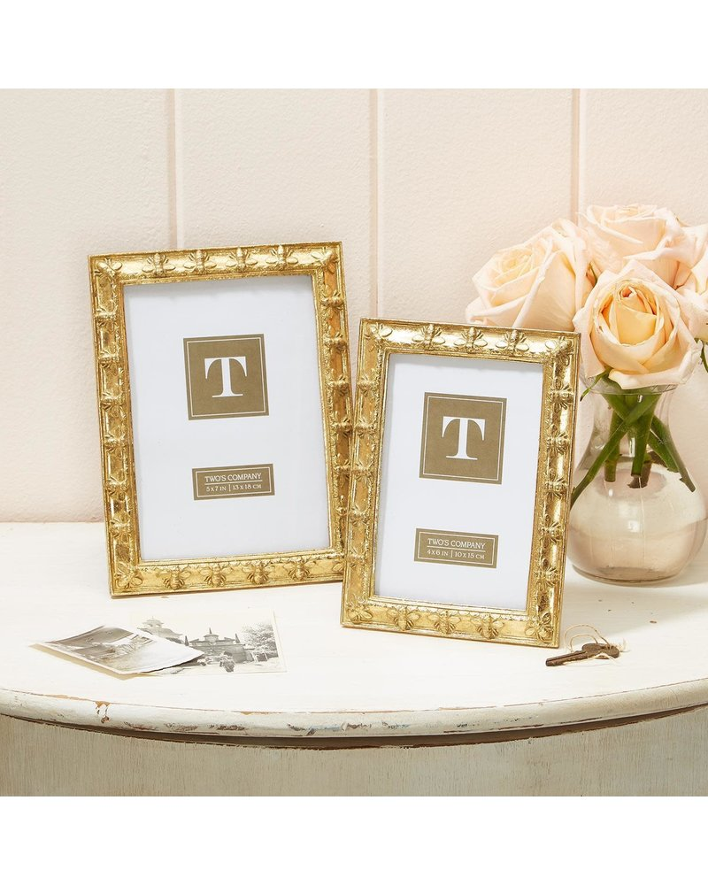 Two's Company Gold Bee Picture Frames