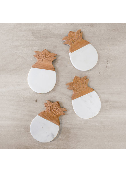 ROYAL STANDARD Pineapple Marble Coaster Set
