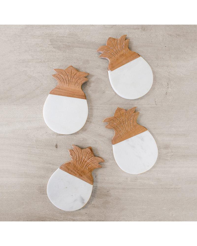 ROYAL STANDARD Pineapple Marble Coaster Set