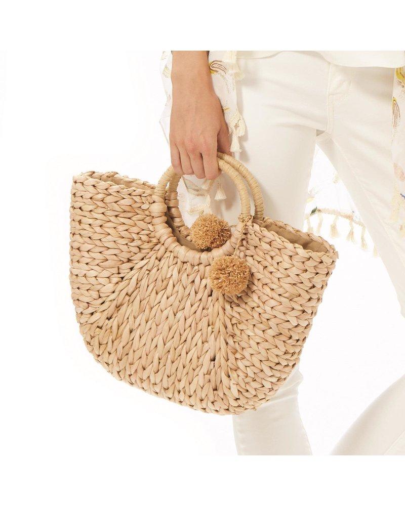 Two's Company Corn Husk Bag With Pom Poms