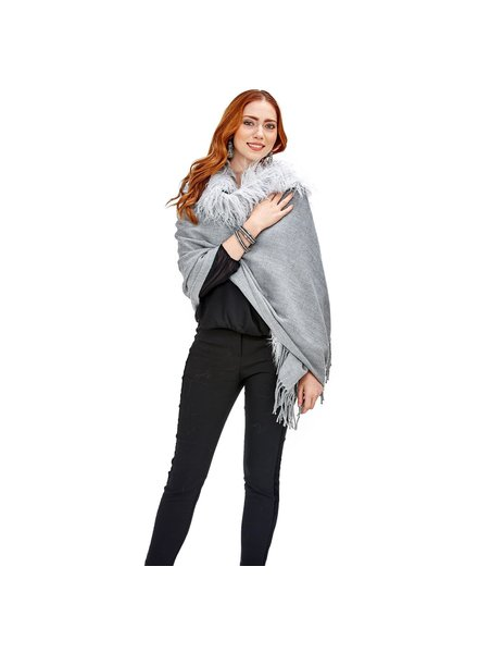 Two's Company Faux Fur Trimmed Cape With Tassels - 2 Colors