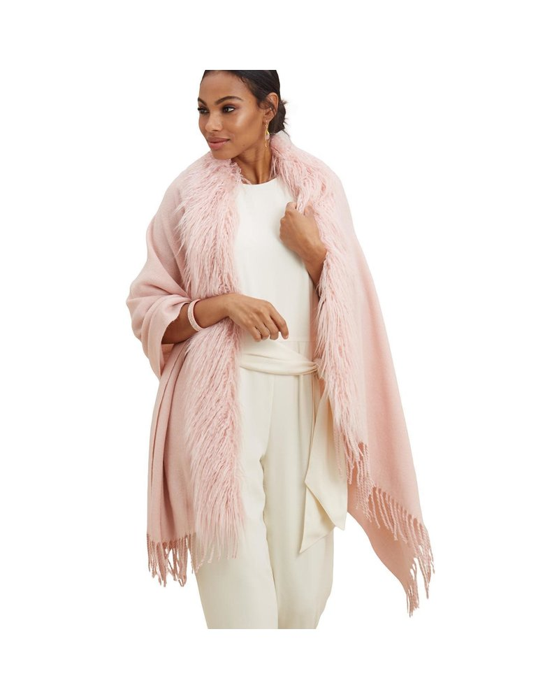 Two's Company Faux Fur Trimmed Cape With Tassels