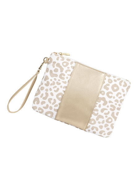 Wholesale Boutique Monogrammed Natural Leopard Wristlet