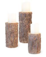 Boston International Pine Pillar Candle Holders - 3 Sizes