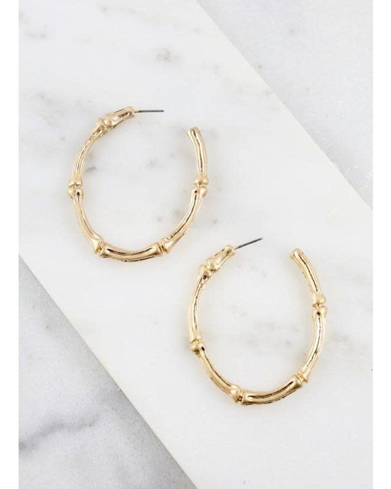 Caroline Hill Gold Oval Bamboo Hoop Earrings