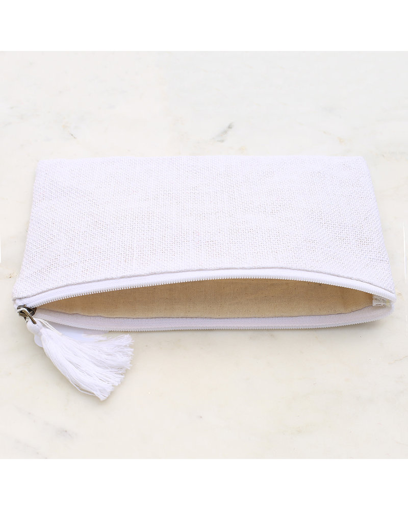 ROYAL STANDARD Monogrammed White Cosmetic Pouch