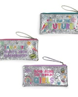 Two's Company Girl Power Glitter Zip Pouches