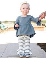 Ruffle Butts Slate & Ivory Striped Ruffle Pants