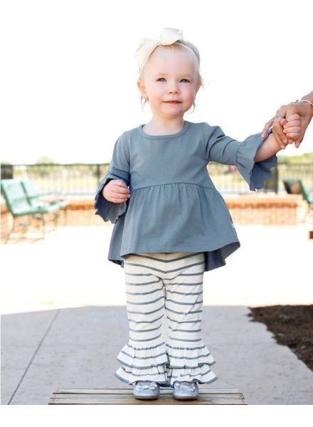 Ruffle Butts Slate & Ivory Striped Ruffle Pants