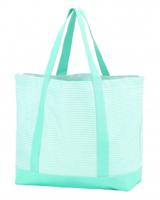Wholesale Boutique Mint Pinstripe Tote Bag