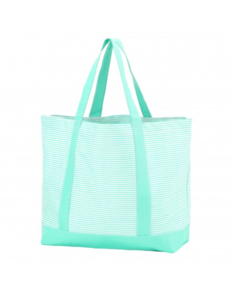 Wholesale Boutique Mint Pinstripe Tote Bag With Monogram