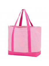 Wholesale Boutique Hot Pink Pinstripe Tote Bag