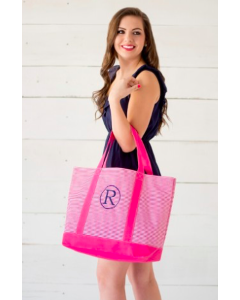 Wholesale Boutique Hot Pink Pinstripe Tote Bag With Monogram