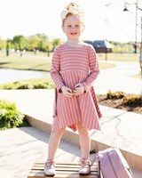 Ruffle Butts Mauve Striped Handkerchief Dress