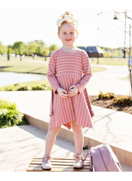 Ruffle Butts Mauve Striped Handkerchief Dress