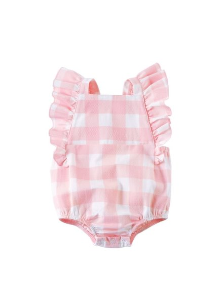 Mudpie Monogrammed Pink Gingham Sunsuit