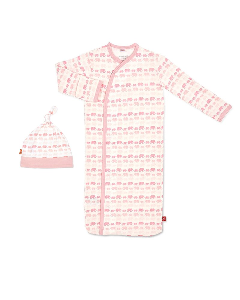 Magnetic Me Magnetic Me Pink Elephants Gown & Hat Set