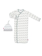 Magnetic Me Magnetic Me Grey Elephants Gown & Hat Set
