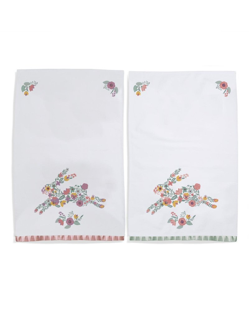Two's Company Floral Bunny Dish Towels