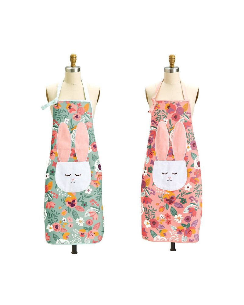 Two's Company Monogrammed Floral Bunny Apron