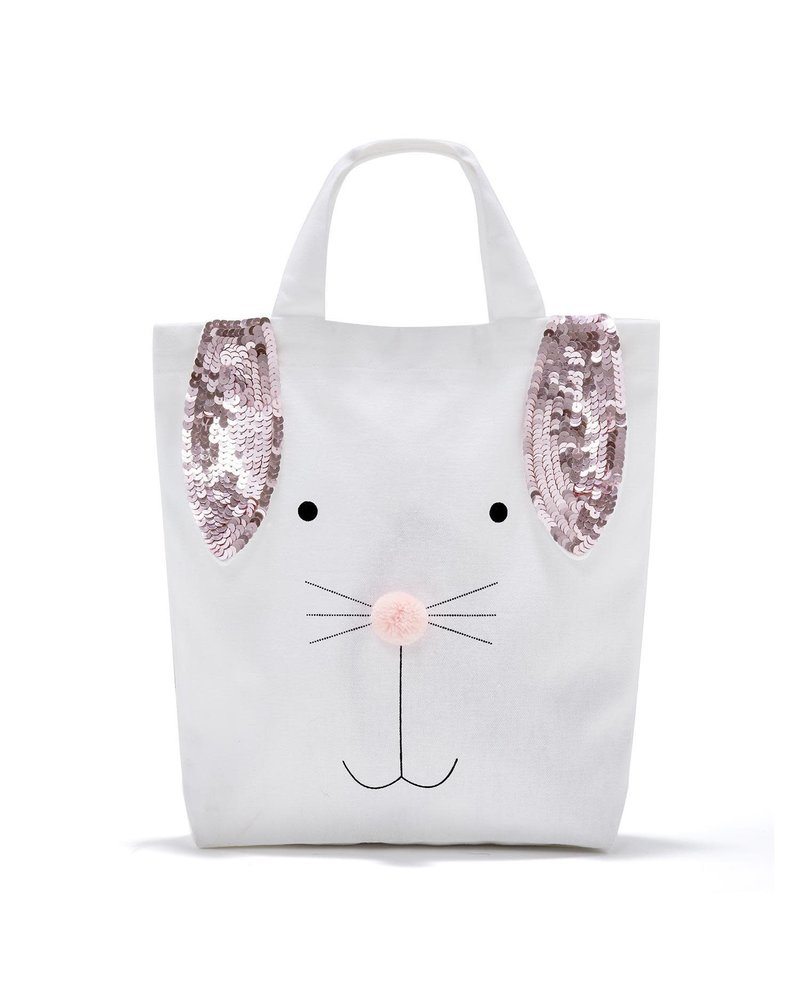 Two's Company Monogrammed Bunny Sequin Easter Tote
