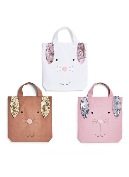 Two's Company Bunny Sequin Easter Tote - 3 Colors Available