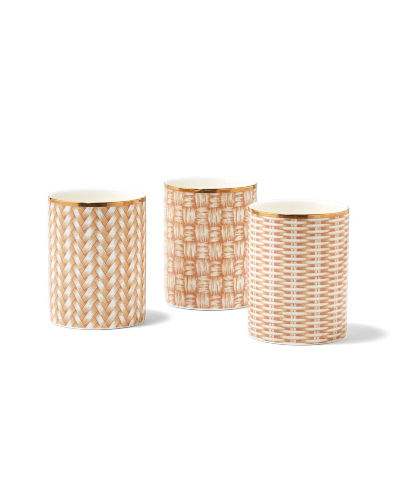 Two's Company Boxed Rattan Weave Candle