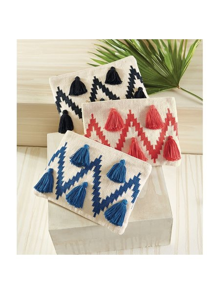 Mudpie Chevron Tassel Clutch - 3 Colors