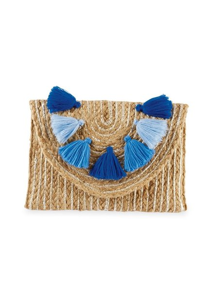 Mudpie Metallic Jute Blue Tassel Clutch