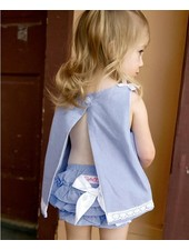 Ruffle Butts Ruffle Butts Blue Chambray Swing Top