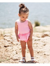 Ruffle Butts Rose Pink Gingham Skirted One Piece