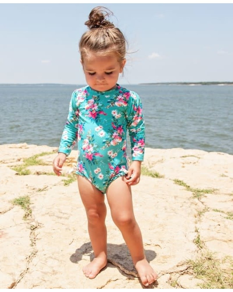 Ruffle Butts Fancy Me Floral One Piece Rash Guard