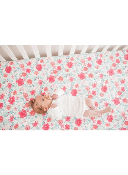 Copper Pearl June Floral Crib Sheet