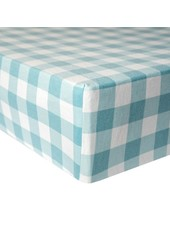 Copper Pearl Blue Gingham Crib Sheet