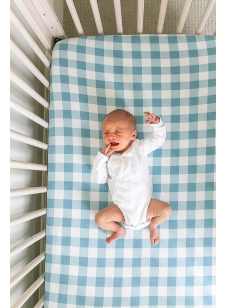 Copper Pearl Blue Gingham Crib Sheet