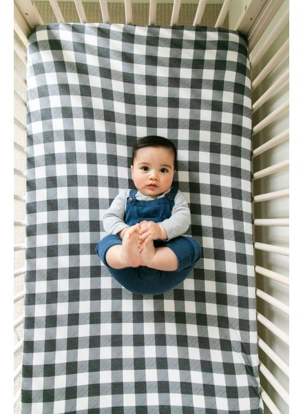 Copper Pearl Grey Gingham Crib Sheet