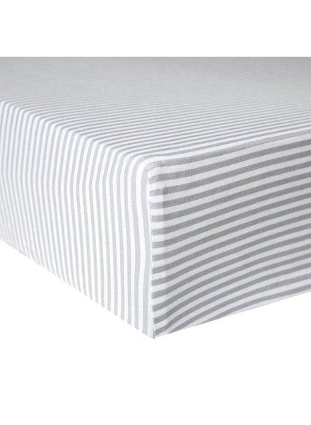 Copper Pearl Grey Striped Crib Sheet