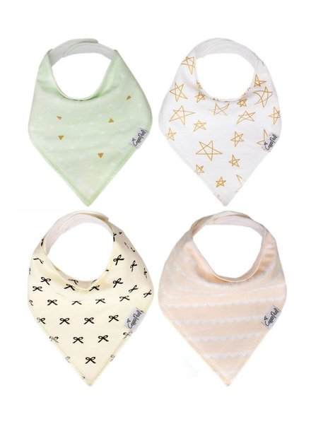 Copper Pearl Bow & Star Bandana Bibs