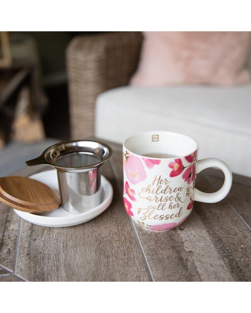 Mary Square Her Children Arise & Call Her Blessed Tea Strainer Mug