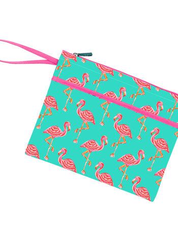 Wholesale Boutique Monogrammed Flamingo Zip Pouch