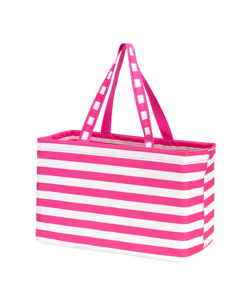 Wholesale Boutique Hot Pink Striped Ultimate Tote With Monogram