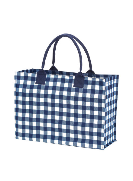 Wholesale Boutique Navy Blue Gingham Tote Bag