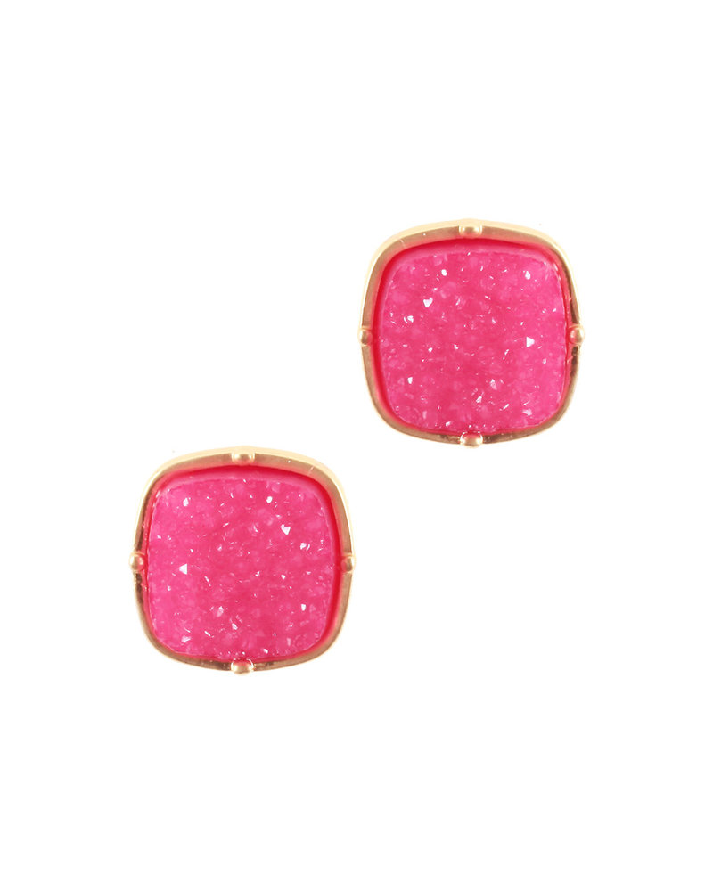 Wholesale Boutique WB Druzy Earrings - Hot Pink