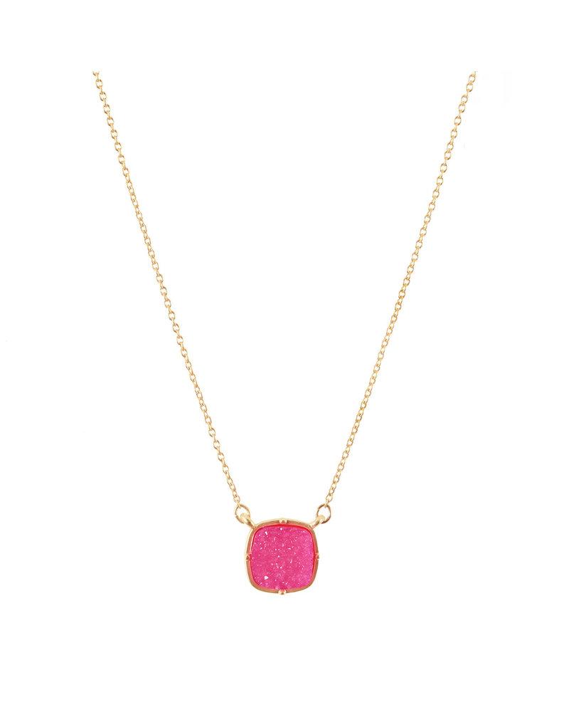 Wholesale Boutique Hot Pink Druzy Necklace