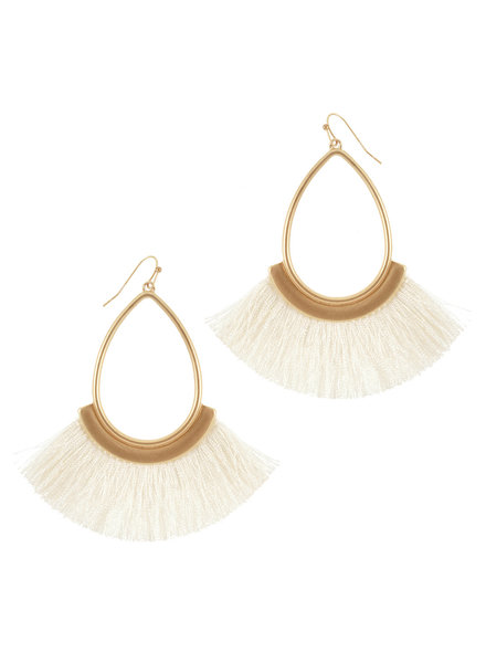 Wholesale Boutique Cream Fringe Earrings